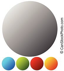 Empty button, badge backgrounds in 5 colors on white