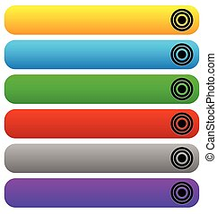 Empty button, banner backgrounds, horizontal rectangles with rounded corners in several colors.