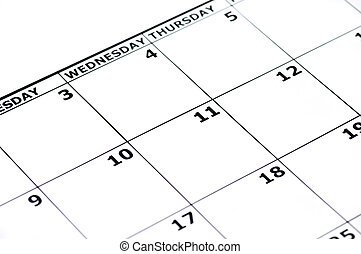 Empty Calender - Part of an empty calender isolated on white...