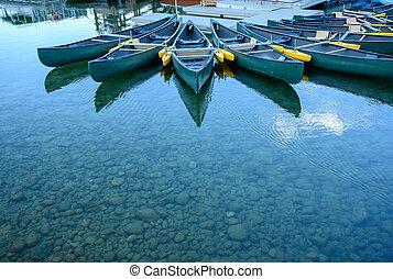 Empty Canoes in Jenny Lake