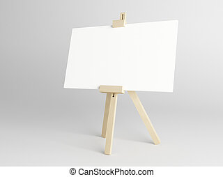 Empty canvas - Empty white canvas for artist on wooden easel