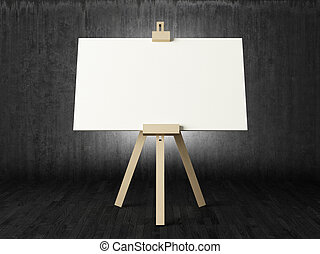 Empty canvas in dark room - Empty white canvas for artist on...