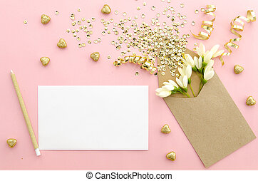 Mock up Empty card with envelope and gold confetti. Mockup template. View from above