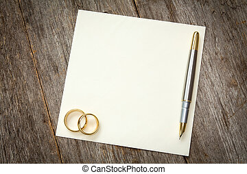 Wedding Rings Pen And Empty Card Creative Abstract