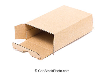 Empty cardboard box isolated on white.