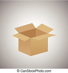 empty cardboard box opened isolated on grey background - eps10 vector illustration