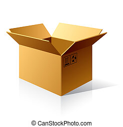 The vector illustration of an empty cardboard box.