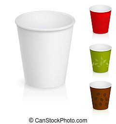 Set of empty cardboard coffee cups. Illustration on white background