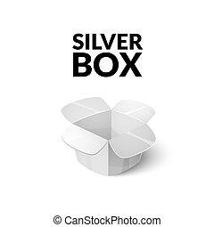 Empty cardboard packaging, open box icon in cartoon style