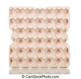 Empty cardboard tray eggs isolated on white background.