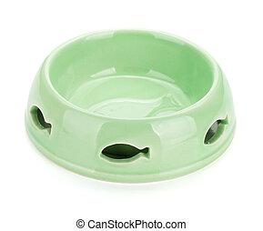 Empty cat food bowl