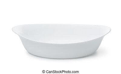 Empty ceramic baking dish