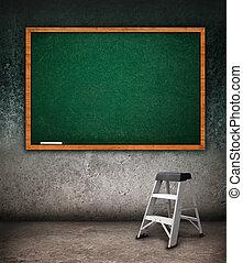 Empty chalkboard - Tabula rasa, empty chalkboard hanging on ...