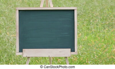 empty chalkboard with easel - empty chalkboard with wooden...
