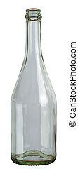 Empty champagne glass bottle isolated on white background. 2 images stitched - original size, DFF image, Adobe RGB