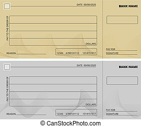 Empty check template. Business cheque book design. Bank checking, blank page for charity donations, corporate payment vector illustration