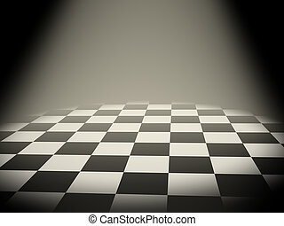 Illuminated empty chess board