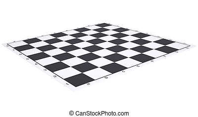Empty chessboard. Render on a white background