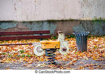 Empty child bike in the park