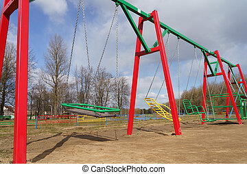 Empty children playground in cathedral square park in the ...