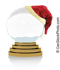 Empty Christmas snow globe on white background