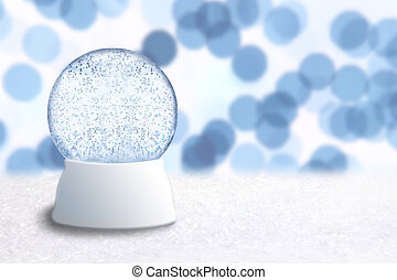 Empty Christmas Snow Globe With Blue Holiday Background