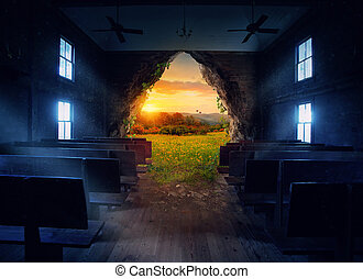 An empty church with an opening to a beautiful landscape