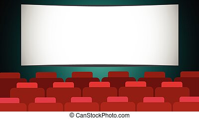 Empty Cinema Hall Screen With Copy Space