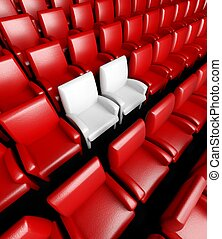Empty cinema hall with auditorium and two reserved seat