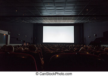 Empty cinema screen with audience