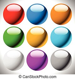 Empty circle button backgrounds, glossy spheres, balls.
