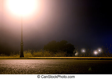 Empty city street at night