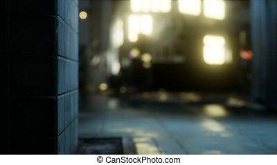 Empty City Streets on quarantine In The Rain At Night