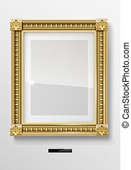 Empty classic portrait painting in gold frame