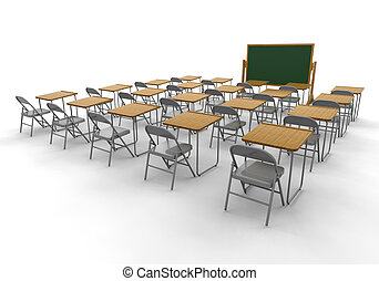 3D render of an empty classroom