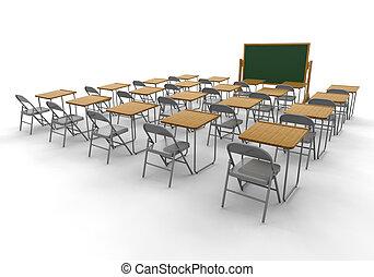 Empty classroom - 3D render of an empty classroom