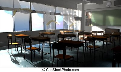 Empty classroom - An empty classroom during summer.