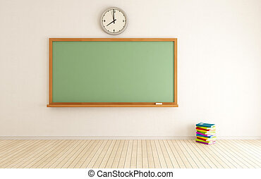 empty classroom with green blackboard and stack of book -...