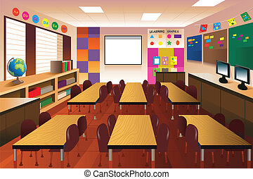 Empty classroom for elementary school - A vector ...