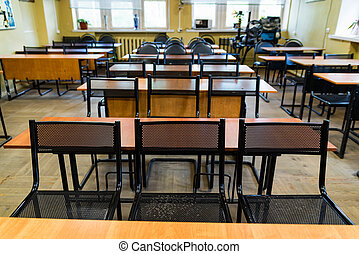 Empty classroom in driving school for adults interior
