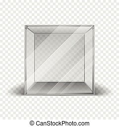 Empty clean glass box cube showcase isolated on checkered...