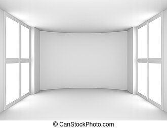 Empty clean white room with windows