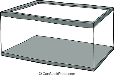 Dry empty clear hand drawn aquarium cartoon