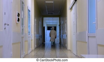 Empty clinic corridor with doctor passing by. Private...