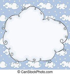 Empty cloud frame on blue sky background