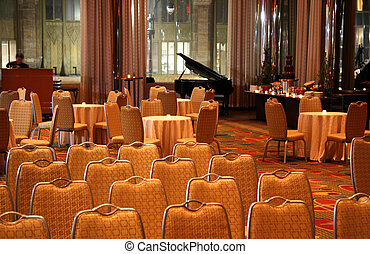 Empty Cocktail Hour Room with Tables and Chairs