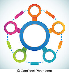Empty color circle marketing flowchart vector illustration