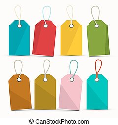 Empty Colorful Labels Set Isolated on White Background