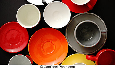 Empty colorful modern ceramic plates and cups collection....