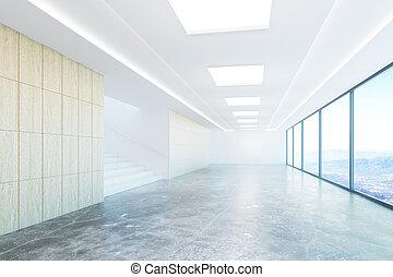 Empty concrete corridor with city view